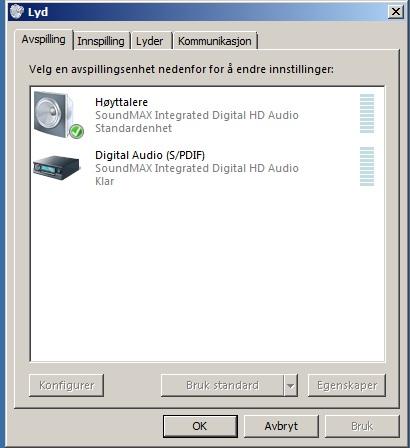 Windows 7 Digital Audio SPDIF Hjelp! Microsoft Community